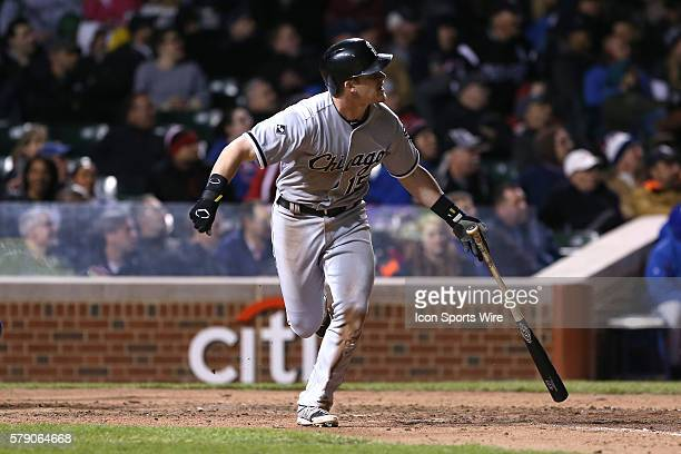 Chicago White Sox second baseman Gordon Beckham hits a single home run in the 8th inning in action during the 2014 Crosstown Classic between the...