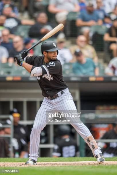 Chicago White Sox shortstop Jose Rondon at bat during a game between the Cleveland Indians and the Chicago White Sox on June 14 at Guaranteed Rate...