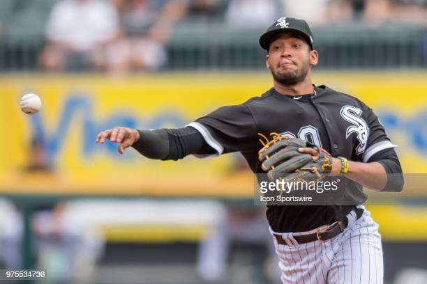 Chicago White Sox shortstop Jose Rondon throws to first base during a game between the Cleveland Indians and the Chicago White Sox on June 14 at...