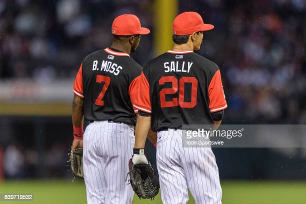 Chicago White Sox shortstop Tim Anderson and Chicago White Sox infielder Tyler Saladino stand side by side in their players weekend jersey in the 5th...