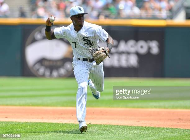 Chicago White Sox shortstop Tim Anderson fields the ball and throws to first base for the out against the Detroit Tigers on June 17 2018 at Toyota...