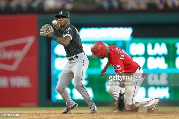 Chicago White Sox Shortstop Tim Anderson holds on to the ball after beginning to turn a double play during the game between the Chicago White Sox and...