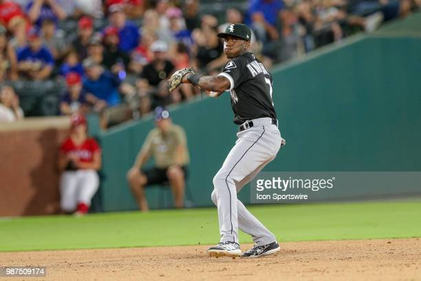Chicago White Sox Shortstop Tim Anderson sets to throw to first base during the game between the Chicago White Sox and Texas Rangers on June 29 2018...