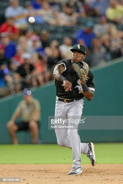 Chicago White Sox Shortstop Tim Anderson throws to first base during the game between the Chicago White Sox and Texas Rangers on June 29 2018 at...