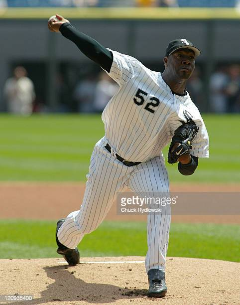 Chicago White Sox' Starter, Jose Contreras, bears down during their game against the Seattle Mariners May 4, 2006 at U.S. Cellular Field in Chicago,...