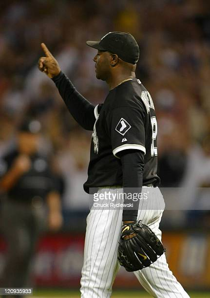 Chicago White Sox' Starter Jose Contreras points heavenward after shutting out the Detroit Tigers 50 August 11 2006 at US Cellular Field in Chicago...