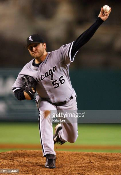 Chicago White Sox starter Mark Buehrle pitches during 43 loss in 11 innings to the Los Angeles Angels of Anaheim at Angel Stadium in Anaheim Calif on...