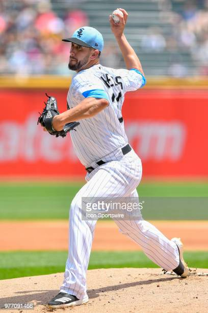 Chicago White Sox starting pitcher James Shields delivers the ball against the Detroit Tigers on June 17 2018 at Toyota Park in Bridgeview Illinois