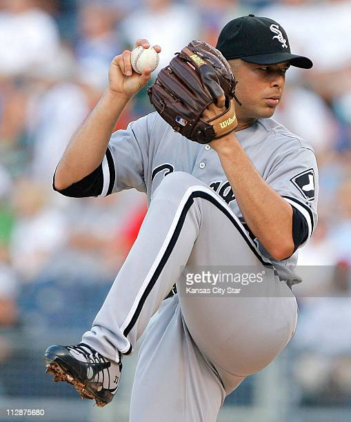 Chicago White Sox starting pitcher Javier Vazquez throws against the Kansas City Royals at Kauffman Stadium in Kansas City Missouri Friday August 1...