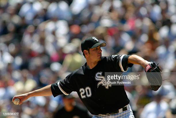 Chicago White Sox' starting pitcher Jon Garland pitches in the game against the Houston Astros June 24 2006 at US Cellular Field in Chicago Illinois...