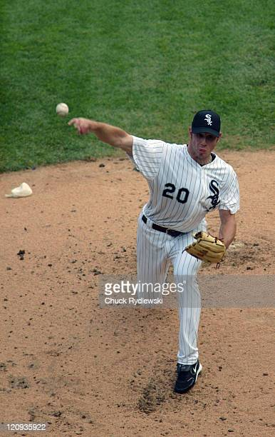 Chicago White Sox Starting Pitcher Jon Garland pitching during the Interleague game against the Chicago Cubs June 26 2005 at US Cellular Field in...