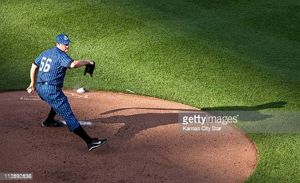 Chicago White Sox starting pitcher Mark Buehrle works in the first inning against the Kansas City Royals at Kauffman Stadium in Kansas City Missouri...