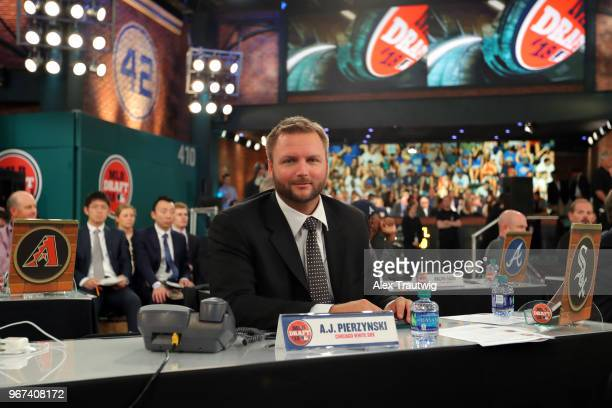 Chicago White Sox team rep AJ Pierzynski looks on during the 2018 Major League Baseball Draft at Studio 42 at the MLB Network on Monday June 4 2018...