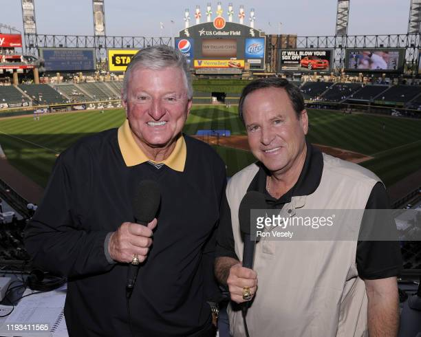 """Chicago White Sox television broadcasters Ken """"Hawk"""" Harrelson and Steve Stone pose for a photo prior to an MLB game at US Cellular Field in Chicago,..."""