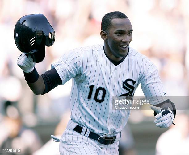 Chicago White Sox's Alexei Ramirez celebrates his gamewinning in the tenth inning against the Tampa Bay Devil Rays at US Cellular Field in Chicago...