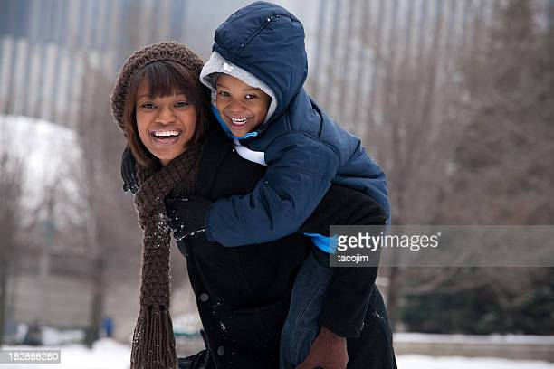 Chicago Winter - Mother and Son
