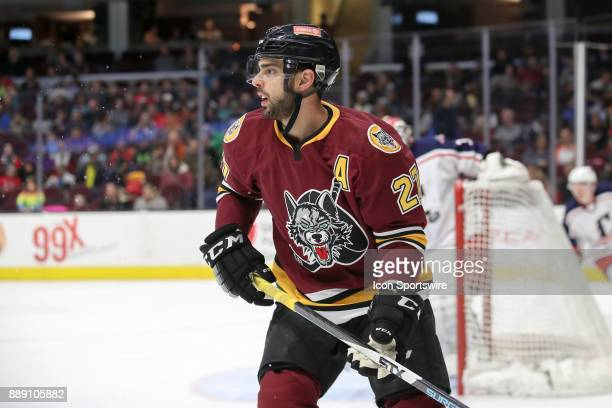 Chicago Wolves center Brandon Pirri on the ice during the first period of the American Hockey League game between the Chicago Wolves and Cleveland...