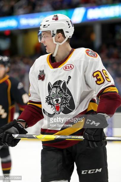 Chicago Wolves center Reid Duke on the ice during the second period of the American Hockey League game between the Chicago Wolves and Cleveland...