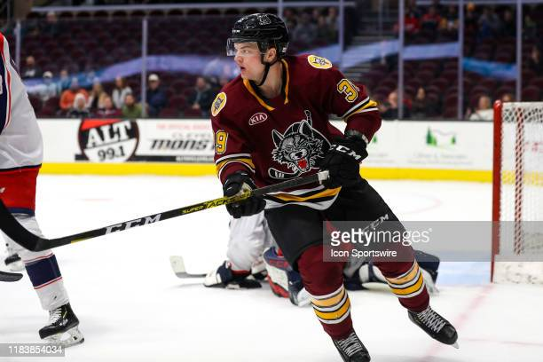 Chicago Wolves center Reid Duke on the ice during the third period of the American Hockey League game between the Chicago Wolves and Cleveland...