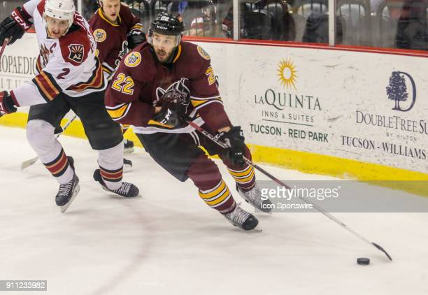 Chicago Wolves center Vadim Shipachyov controls the puck during a hockey game between the Chicago Wolves and Tuscon Roadrunners on January 26 at...