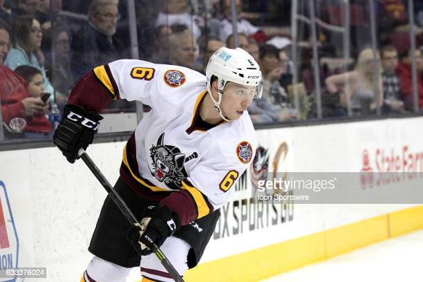 Chicago Wolves D Vince Dunn during the second period of the AHL hockey game between the Chicago Wolves and and Cleveland Monsters on January 26 at...