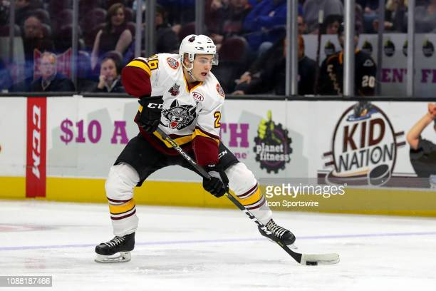 Chicago Wolves defenceman Erik Brannstrom plays the puck during the first period of the American Hockey League game between the Chicago Wolves and...