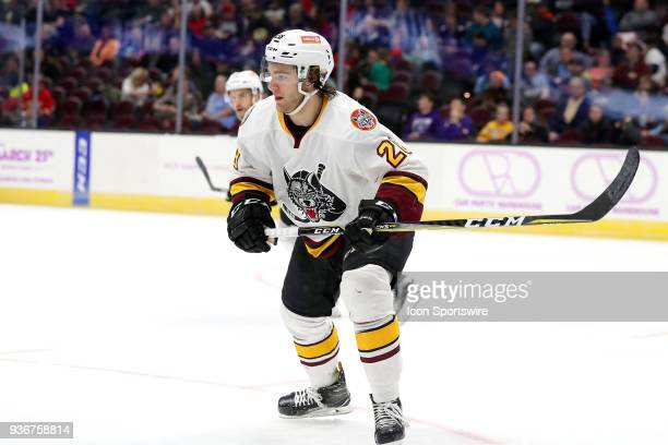 Chicago Wolves defenceman Jake Bischoff on the ice during the second period of the American Hockey League game between the Chicago Wolves and...