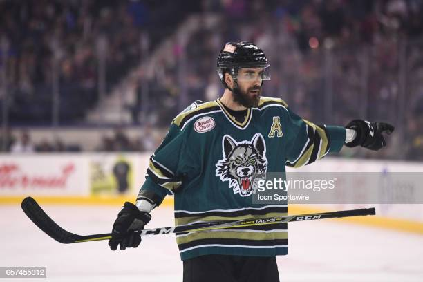 Chicago Wolves defenseman Morgan Ellis directs players and points during an AHL hockey game between the Chicago Wolves and Grand Rapids Griffins on...