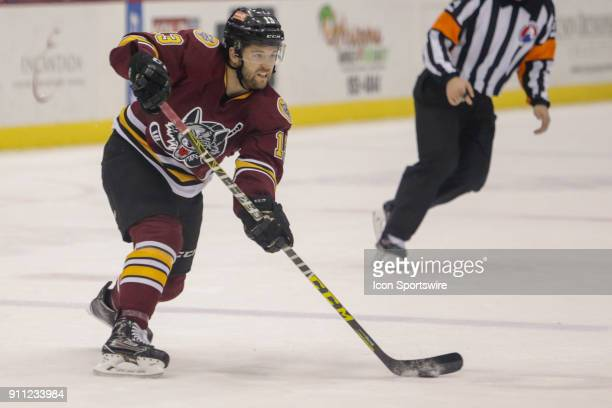 Chicago Wolves defensemen Kevin Lough controls the puck during a hockey game between the Chicago Wolves and Tuscon Roadrunners on January 26 at...