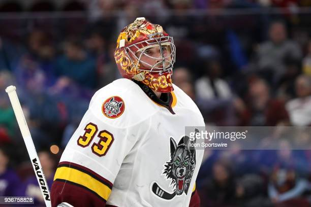 Chicago Wolves goalie Max Lagace on the ice during the second period of the American Hockey League game between the Chicago Wolves and Cleveland...
