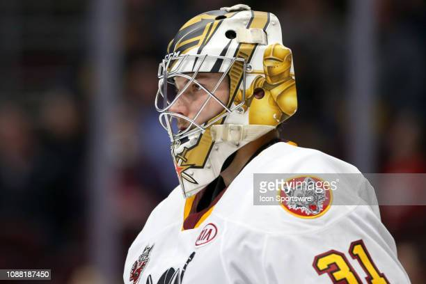Chicago Wolves goalie Zachary Fucale on the ice during the second period of the American Hockey League game between the Chicago Wolves and Cleveland...