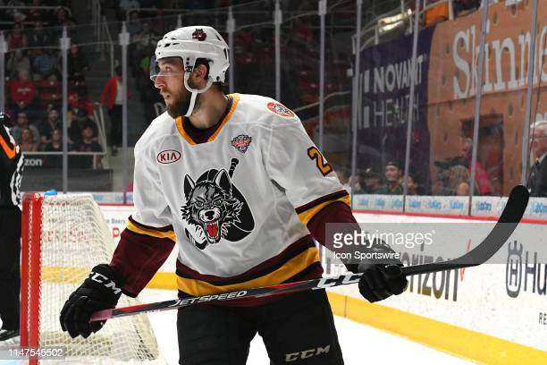 Chicago Wolves Janne Kuokkanen 23 during game one of the Calder Cup finals between the Chicago Wolves and the Charlotte Checkers on June 01 2019 at...