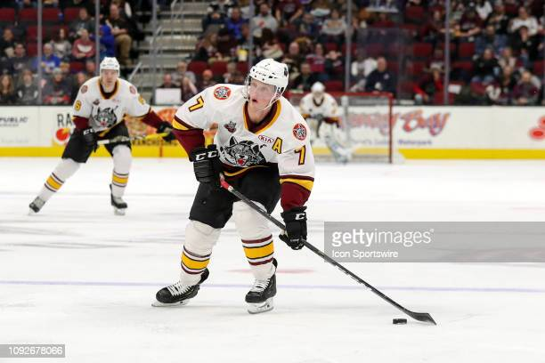 Chicago Wolves left wing Daniel Carr controls the puck during the second period of the American Hockey League game between the Chicago Wolves and...