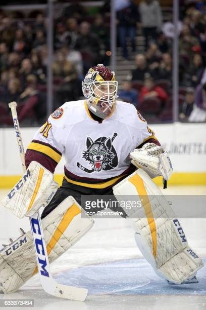 Chicago Wolves Pheonix Copley during the second period during first period of the AHL hockey game between the Chicago Wolves and and Cleveland...