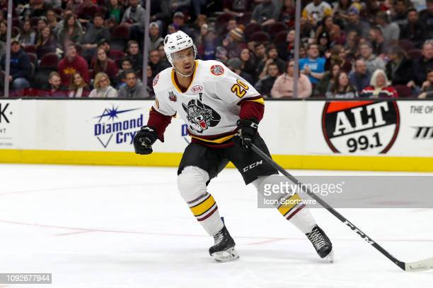 Chicago Wolves right wing Keegan Kolesar on the ice during the first period of the American Hockey League game between the Chicago Wolves and...