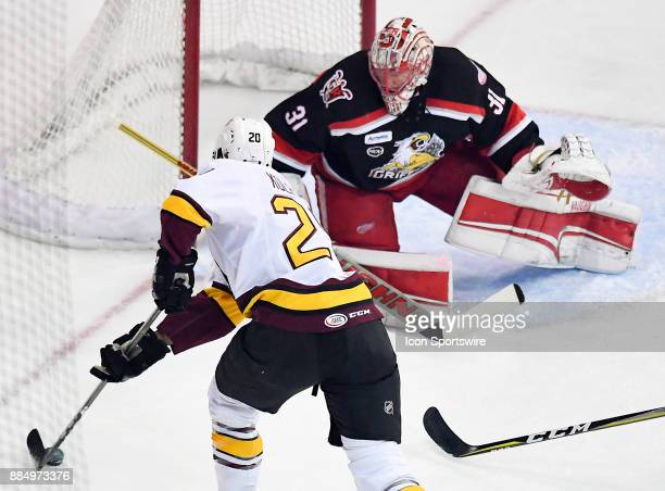 Chicago Wolves right wing Keegan Kolesar takes a shot during the game between the Chicago Wolves and the Grand Rapids Griffins on December 2 2017 at...