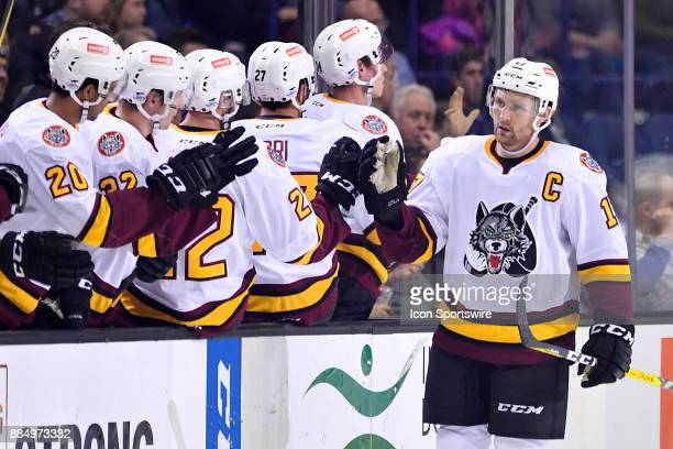 Chicago Wolves right wing Paul Thompson celebrates with teammates after the Chicago Wolves scored a goal during the game between the Chicago Wolves...