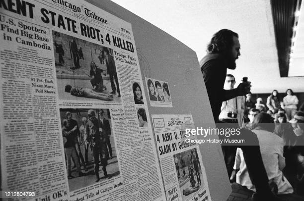 Chicago-area university students mourn the four students killed by police at Kent State University, May 5, 1970.