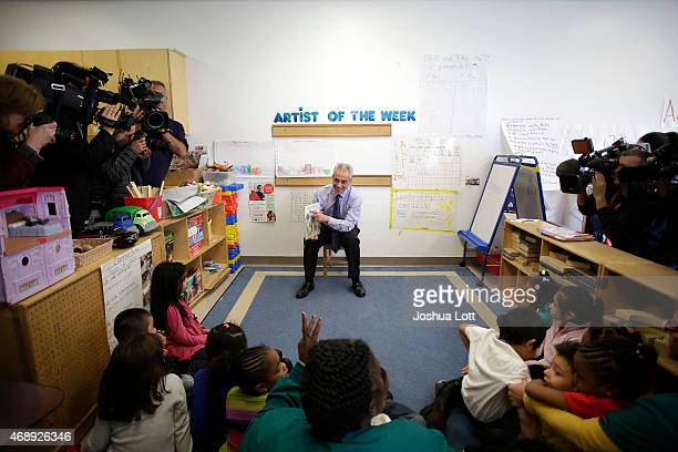 Chicago's Mayor Rahm Emanuel reads to students at Carole Robertson Center for Learning April 8 2015 in Chicago Illinois Emanuel was elected to his...