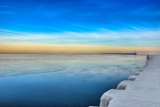 Chicago's Oak Street Beach in January