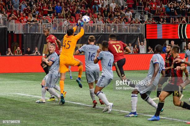Chicago's Richard Sanchez punches a ball out of the box during the Open Cup match between Atlanta and Chicago on June 20th 2018 at MercedesBenz...