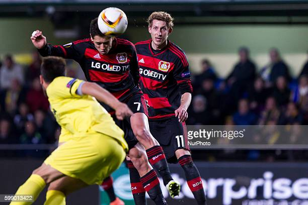 Chicharito Hernandez of Bayer 04 Leverkusen and 11 Stefan Kiessling of Bayer 04 Leverkusen during UEFA Europa League Round of 16 first legs match...