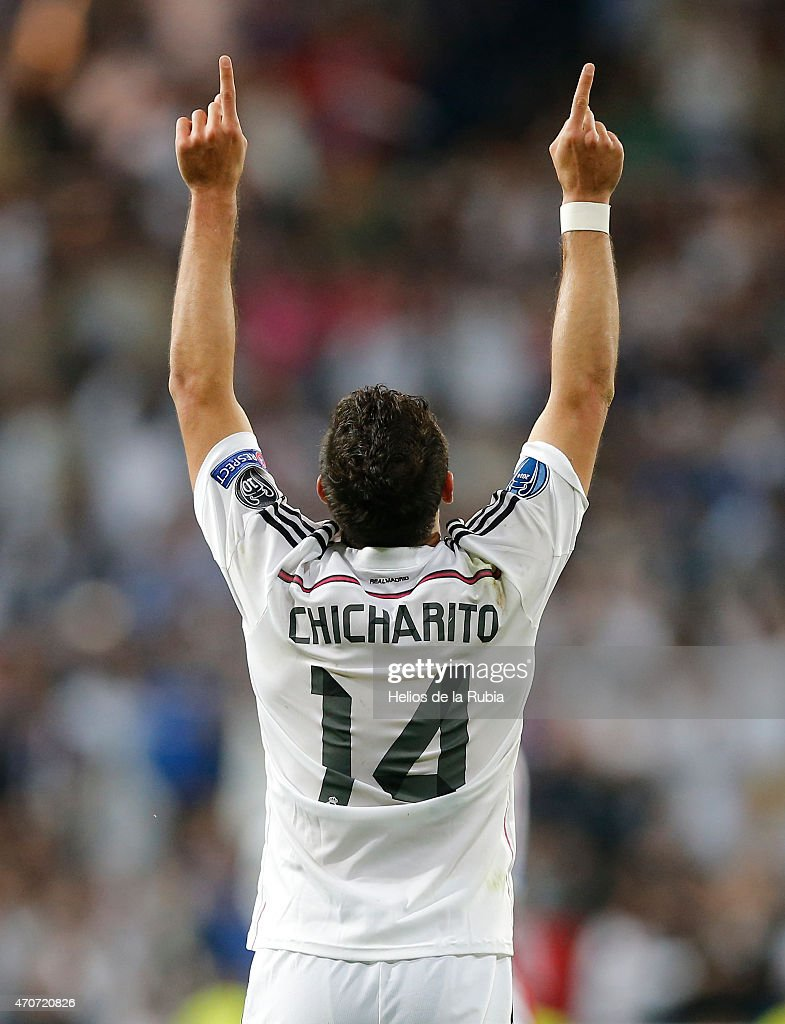 Chicharito Hernandez of Real Madrid celebrates after scoring during the UEFA Champions League Quarter Final second leg match between Real Madrid CF and Club Atletico de Madrid at Estadio Santiago Bernabeu on April 22, 2015 in Madrid, Spain.
