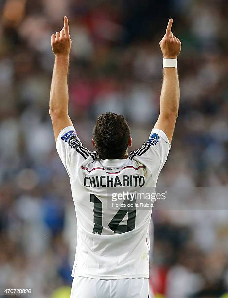 Chicharito Hernandez of Real Madrid celebrates after scoring during the UEFA Champions League Quarter Final second leg match between Real Madrid CF...