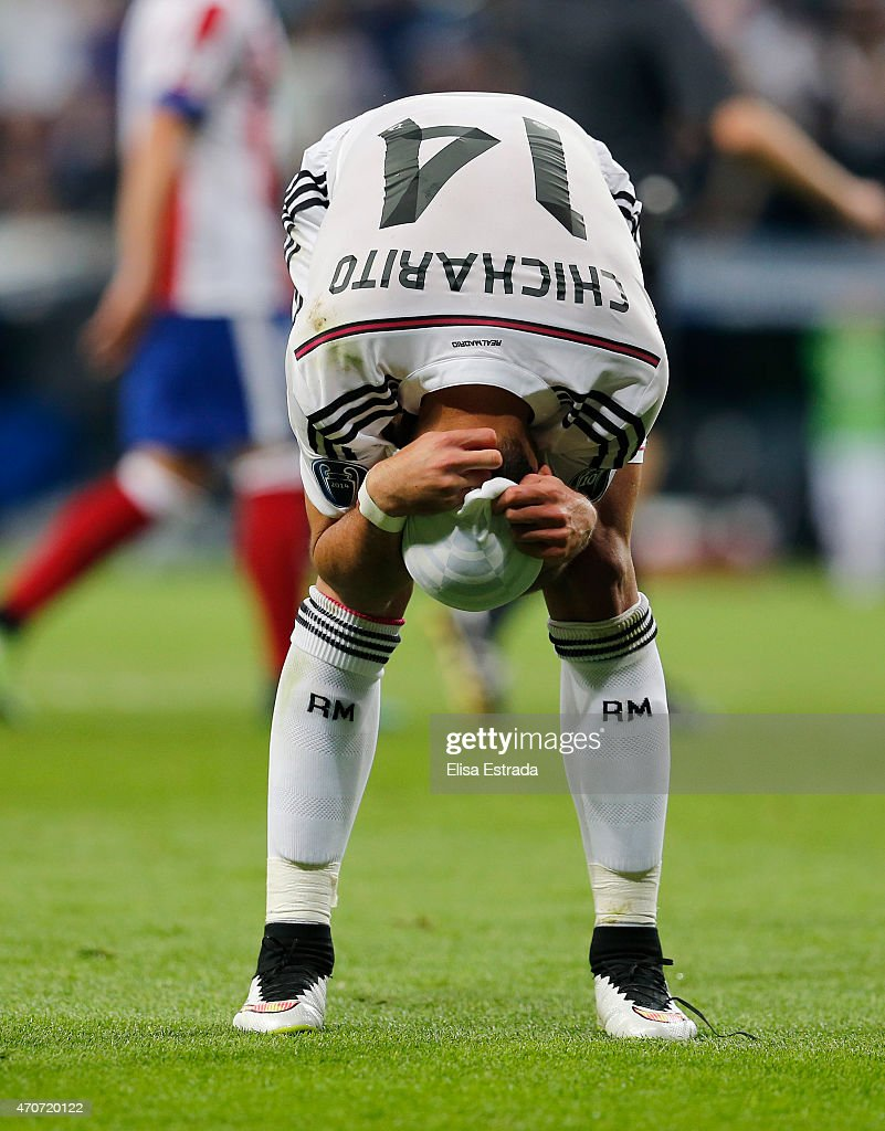 Chicharito Hernandez of Real Madrid reacts during the UEFA Champions League Quarter Final second leg match between Real Madrid CF and Club Atletico de Madrid at Estadio Santiago Bernabeu on April 22, 2015 in Madrid, Spain.