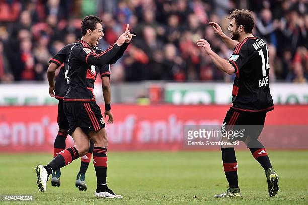 Chicharito of Bayer Leverkusen celebrates as he scores his team's third goal during the Bundesliga match between Bayer Leverkusen and VfB Stuttgart...