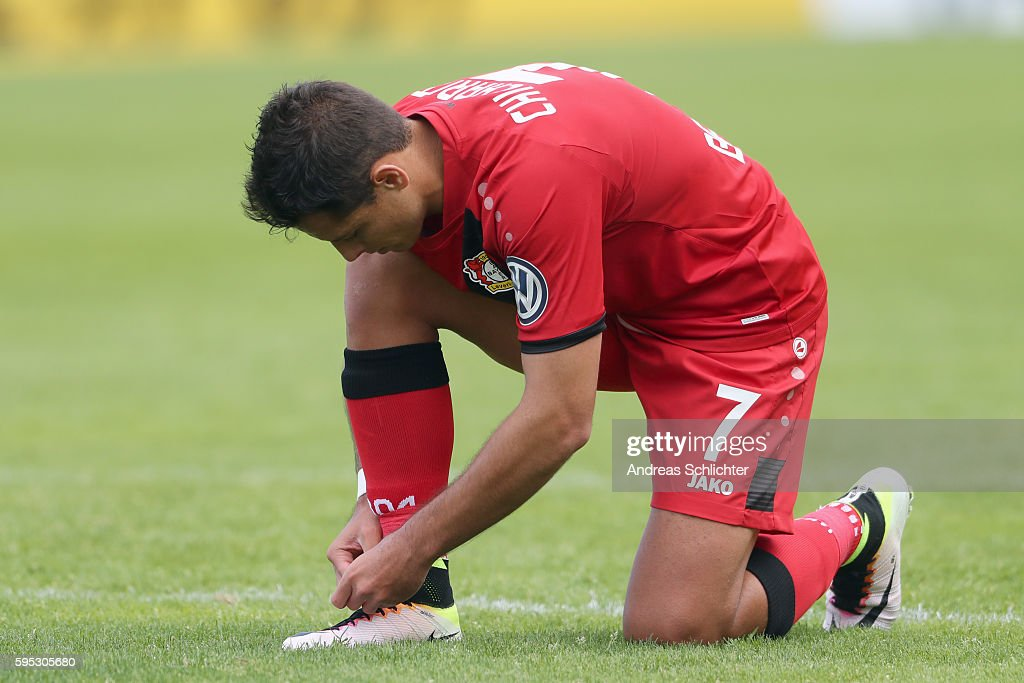 Chicharito of Bayer Leverkusen during the DFB Cup match between SC Hauenstein and Bayer 04 Leverkusen at Stadium Husterhoehe on August 19, 2016 in Pirmasens, Germany.