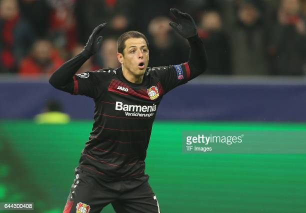 Chicharito of Bayer Leverkusen gestures during the UEFA Champions League Round of 16 first leg match between Bayer Leverkusen and Club Atletico de...
