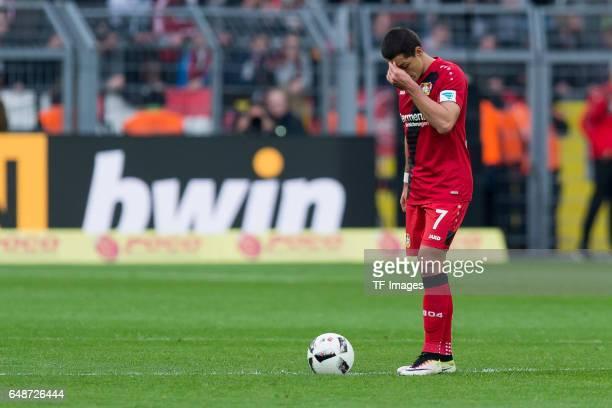 Chicharito of Bayer Leverkusen looks dejected during the Bundesliga match between Borussia Dortmund and Bayer 04 Leverkusen at Signal Iduna Park on...