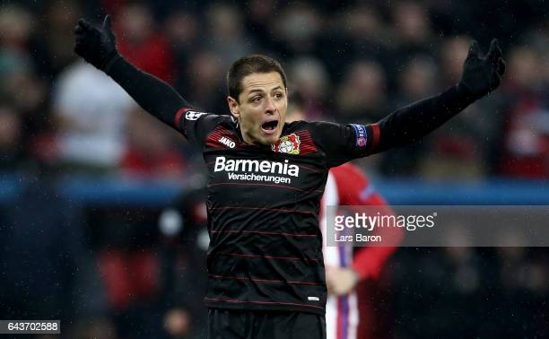 Chicharito of Bayer Leverkusen reacts during the UEFA Champions League Round of 16 first leg match between Bayer Leverkusen and Club Atletico de...